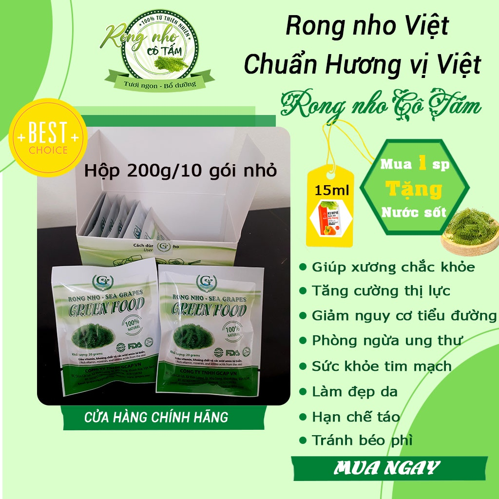 Rong nho tách nước Green Food Hộp 200g(10 gói nhỏ) tác dụng rong nho rất lớn với sức khỏe, Freeship (tặng kèm sốt)