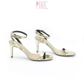 Giày Sandal Cao Gót 7cm Quai Mảnh Gót Nhọn Màu Nhũ Vàng Pixie P131
