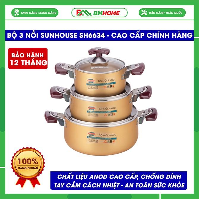 Bộ nồi Sunhouse SH6634, bộ nồi Anod Sunhouse 3 chiếc chất liệu nhôm dùng bếp gas, bếp hồng ngoại, siêu bền - BH 12 tháng
