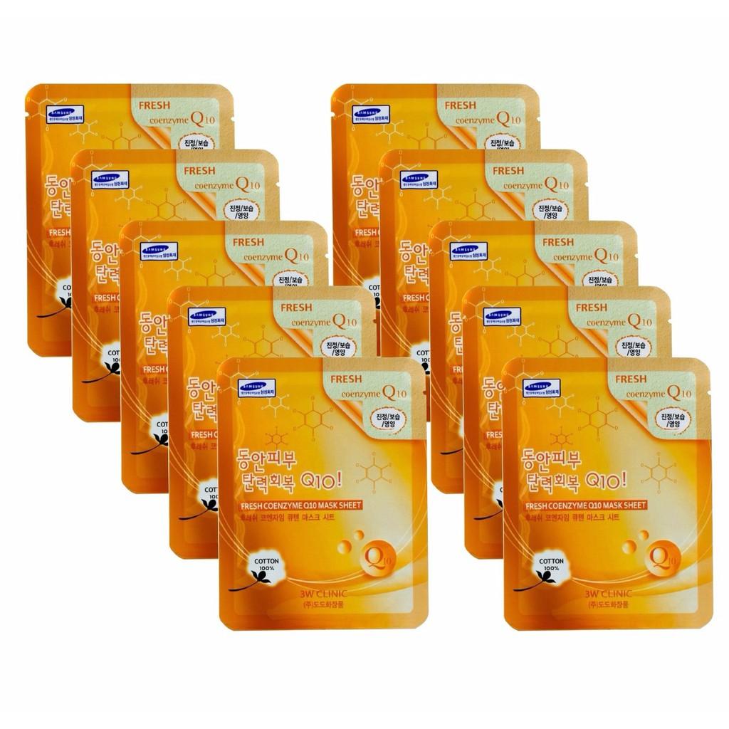 Bộ 10 gói mặt nạ cung cấp dưỡng chất phục hồi da 3W Clinic Fresh Coenzyme Q10 Mask Sheet 23ml X 10