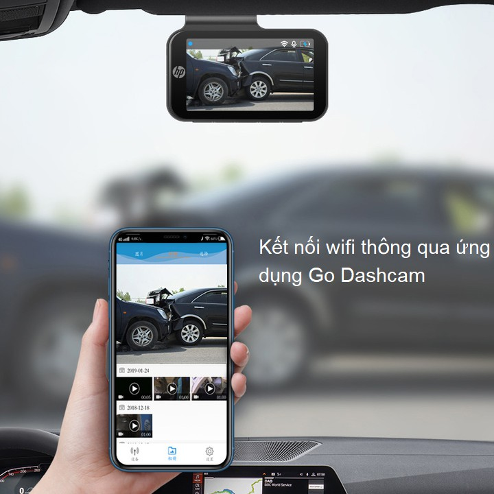 Camera hành trình ô tô thương hiệu cap cấp HP f960x tích hợp Wifi GPS - Hàng Nhập Khẩu Chính Hãng