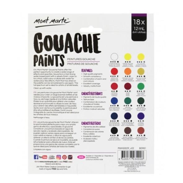 Màu gouache Mont Marte, màu bột pha sẵn tuýp 12ml bộ 12/18/24