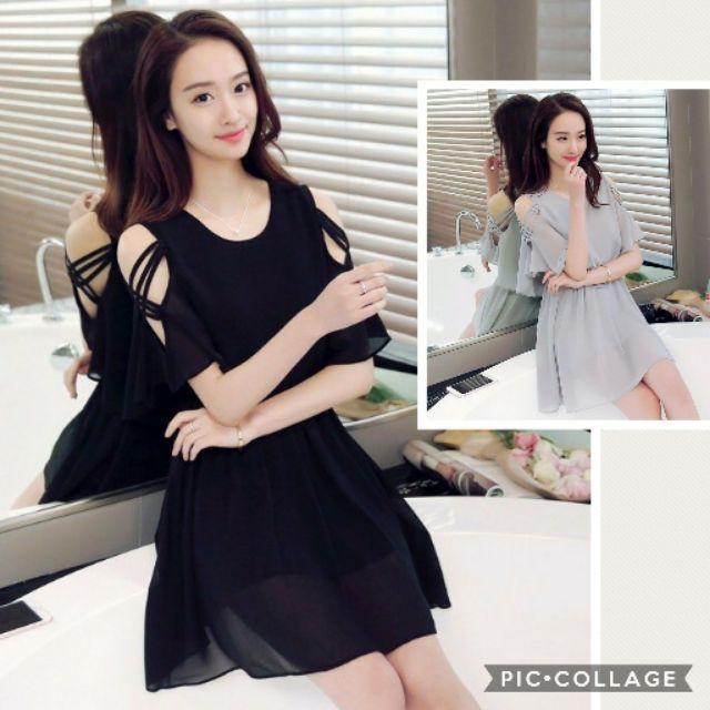 Đầm dáng xòe khuyết vai cánh tiên - HNG