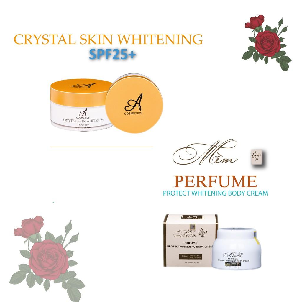 Bộ sản phẩm dưỡng trắng da body Acosmetics (Ủ trắng pha lê tinh thể nước và Kem body mềm)
