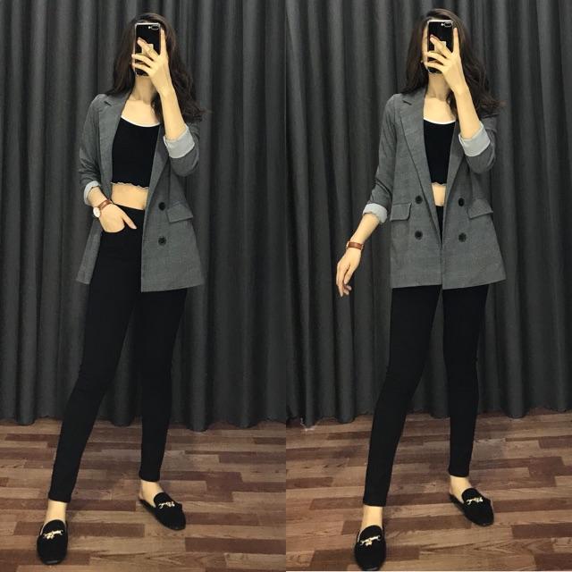 Quần jean ôm đen nữ lưng cao co giãn/quần bò nữ/màu đen/có túi trước