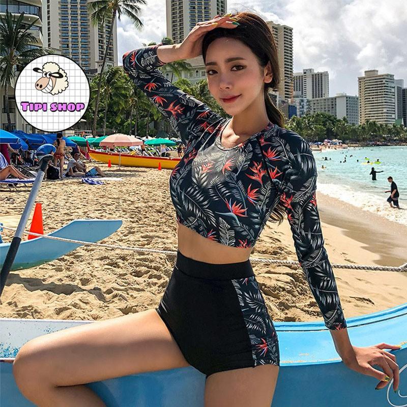 Bikini đi biển cao cấp dài tay hoa đỏ