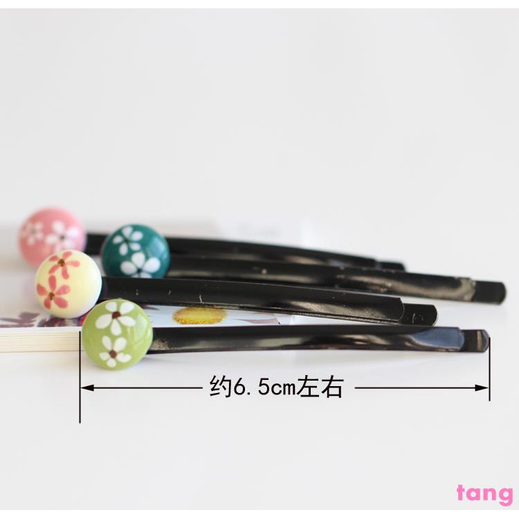 Special offer [fresh flower hairpin] handmade hand-painted ceramics fashion hairpin hair accessories small jewelry manuf