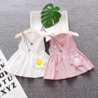 Đầm Cotton sát nách phối hoa thiết kế phong cách công chúa cho bé