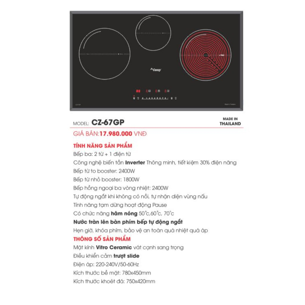 Bếp từ Canzy CZ 67GP - Bếp từ 3 vùng nấu [2 từ 1 hồng ngoại] Nhập khẩu Thái  Lan giá cạnh tranh