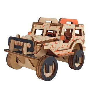 Children DIY Color Jeep Wooden Puzzle 3D Model Educational Toys