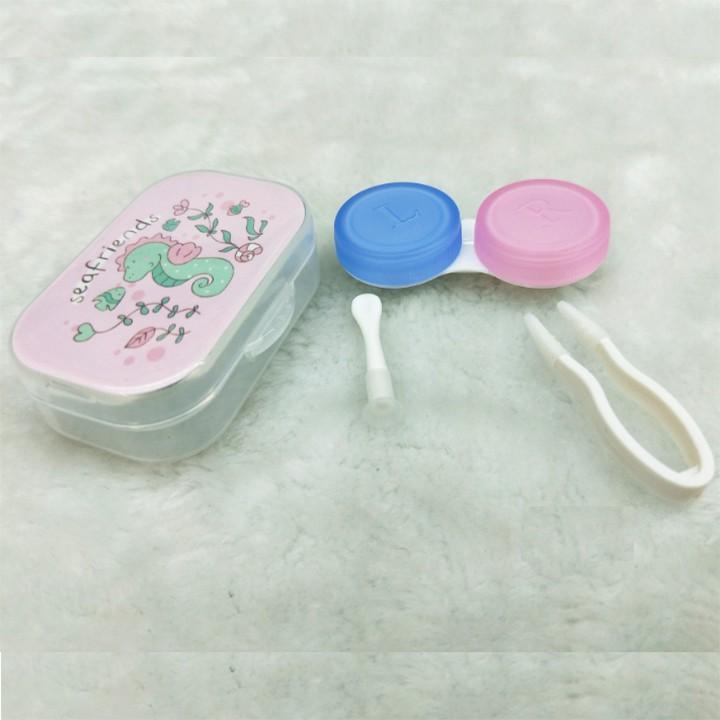 Bộ hộp đựng lens dễ thương có gương 5 in 1 khay trong suốt nhiều màu cute