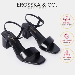 Giày sandal cao gót Erosska mũi vuông phối quai dây mảnh cao 5cm màu đen - EB030
