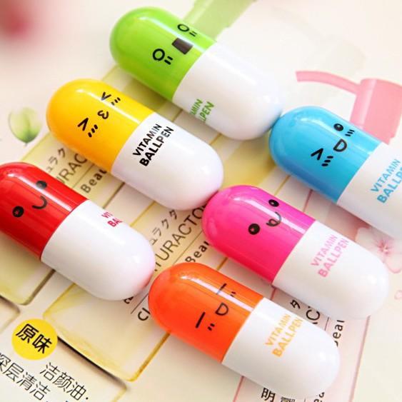 Combo 05 Bút bi viên thuốc vitamin, bút bi rút gọn