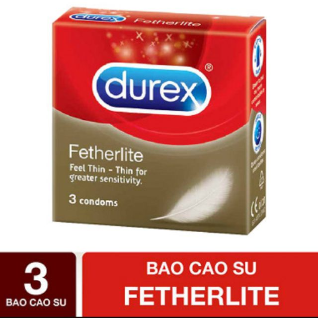 Bao cao su durex fetherlite siêu mỏng, siêu bôi trơn 3s
