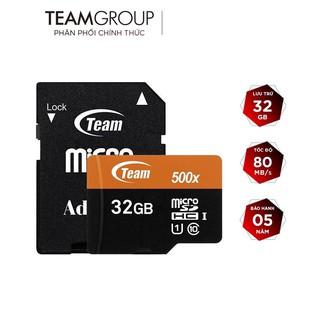 Thẻ nhớ microSDHC Team 32GB 500x upto 80MB s class 10 U1 kèm Adapter (Cam) - Hàng Chính Hãng thumbnail