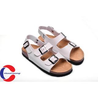 Giày sandal unisex thời trang HuuCuong -2 khóa đế trấu( trắng)