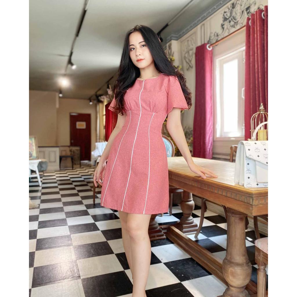 Mặc gì đẹp: Sang trọng với Đầm công sở nữ hồng thiết kế dáng chữ a thanh lịch tay ngắn thoải mái viền trắng giúp thon cao (thời trang công sở)
