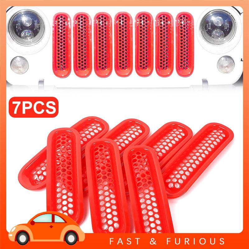UU Jeep JK Wrangler 07-17 Car Grille Cover Car Mesh Grill ABS Red Trim Decoration Truck Parts