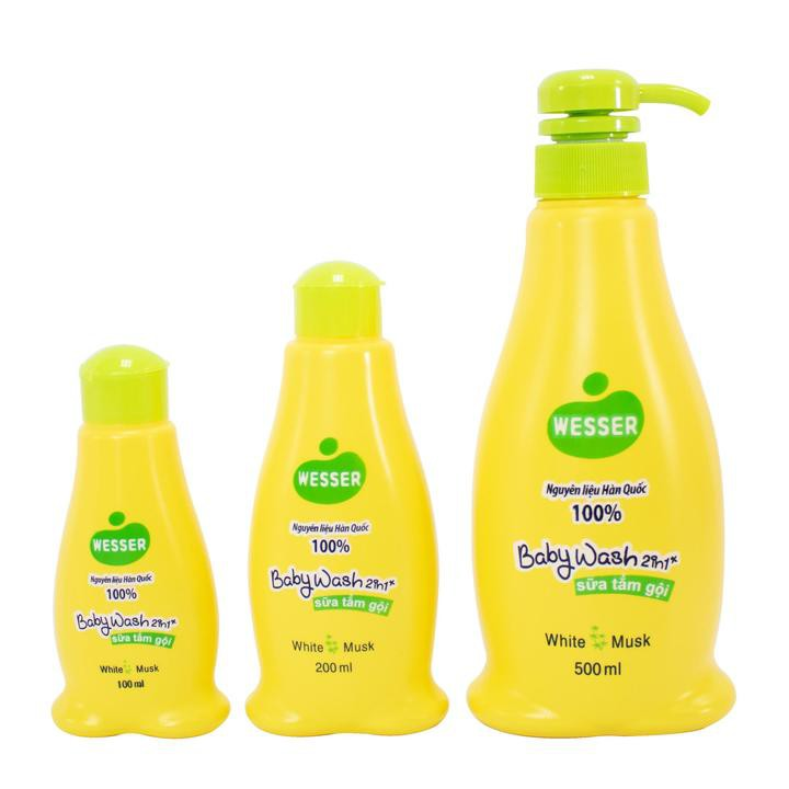 Sữa Tắm Gội Wesser 200ML/ 500ML - Sữa Tắm Gội Trẻ Em - Sữa Tắm Gội Cho Bé Sơ Sinh