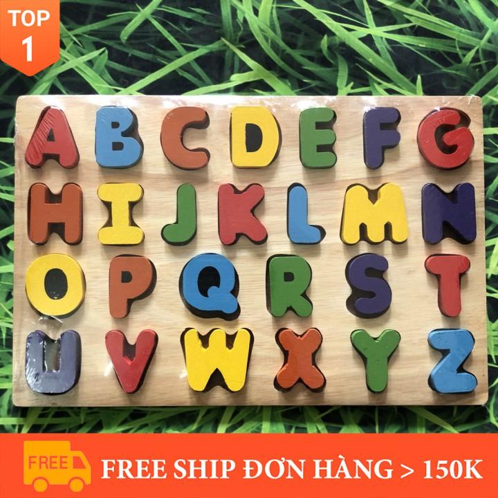 [Đồ chơi sáng tạo] [Nhập mã TOYBRAND7 giảm 70K]Bảng Chữ Cái Tiếng Anh In Hoa Bằng Gỗ Minh Thành