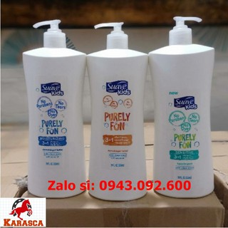 Sữa Tắm Gội Xả Suave Kids Purely Fun Sensitive 3in1 828ml Dành Cho Bé Da Nhạy Cảm