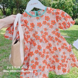 Mùa hè mới cô gái trẻ em gái hàn quốc bong bóng bóng tay áo quần công chúa hoa cúc nhỏ PAPAYA