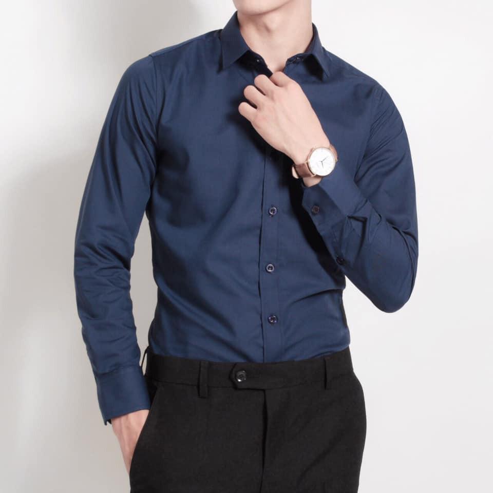 [FREE SHIP 50K] Áo Sơ mi nam trắng dài tay Hàn Quốc form body, vải lụa Thái chống nhăn - Loại 1