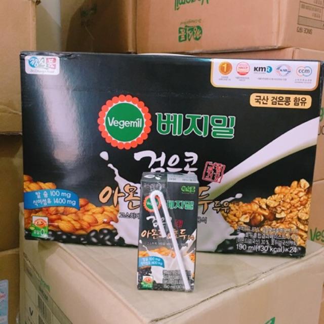 Thùng (24 HỘP /190ML ) Sữa Óc Chó Đậu Đen Hàn Quốc Vegemil