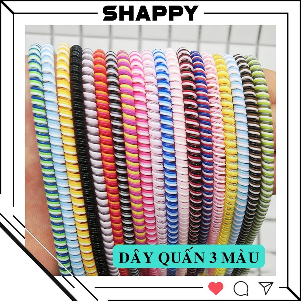 Dây Quấn 3 Màu Dài 1m4 - Bảo Vệ Dây Cáp Sạc Tròn - Được Chọn Màu [Shappy Shop