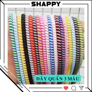 Yêu Thích[SIÊU RẺ] Dây Quấn 3 Màu Dài 1m4 - Bảo Vệ Dây Cáp Sạc Tròn - Được Chọn Màu [Shappy Shop]
