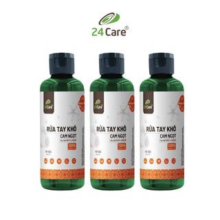 [KHÁNG KHUẨN] Bộ 3 Nước rửa tay khô tinh dầu Cam 24Care 100ML không cần rửa lại với nước, diệt khuẩn 99,9%