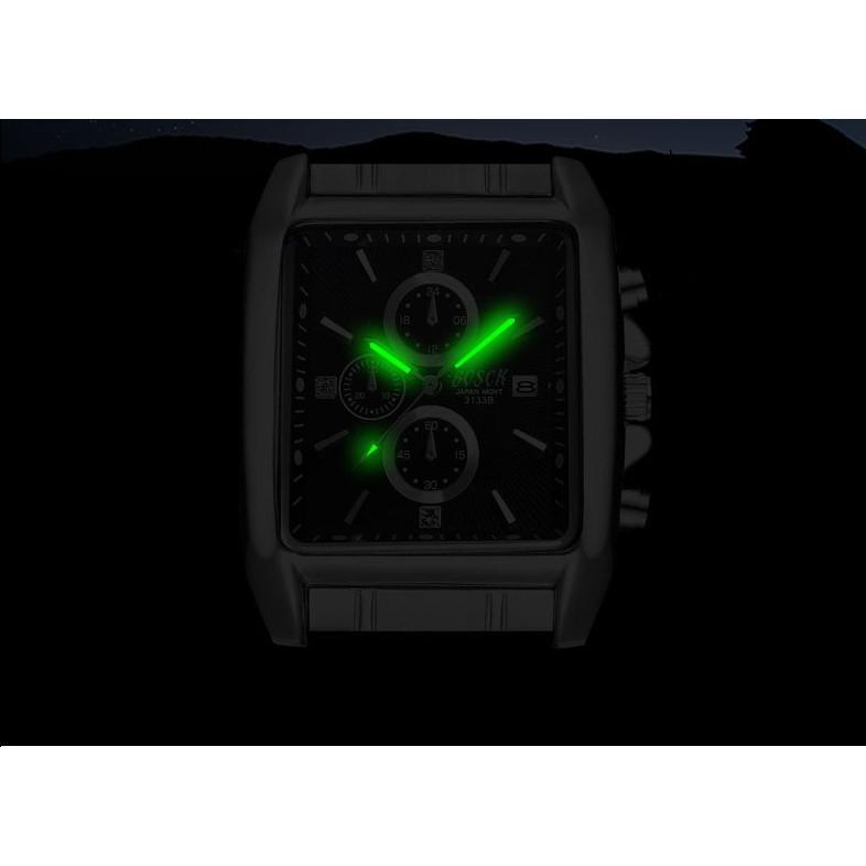 Đồng hồ nam BOSCK mặt chữ nhật dây thép không gỉ Phong cách Sporty có lịch ngày cao cấp