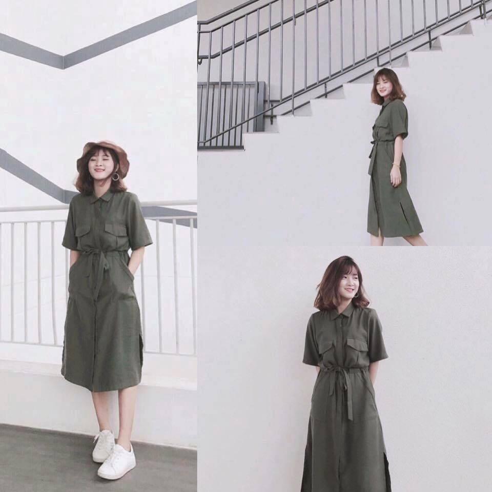 Đầm sơ mi rêu xanh