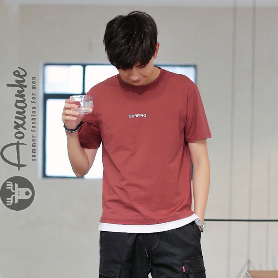 Áo thun nam cổ tròn đỏ trẻ trung (AXH-015)