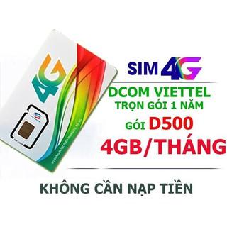 Sim 4G Viettel D500 4Gb/tháng – Miễn phí 1 năm