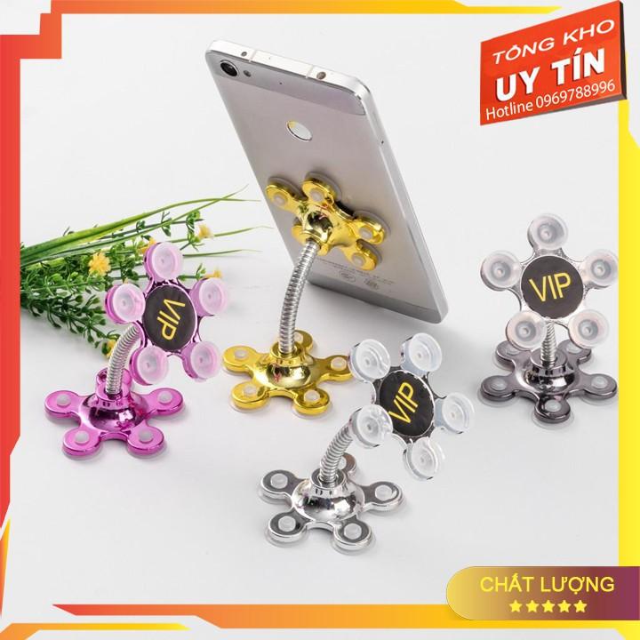 [SẬP GIÁ] Giá đỡ điện thoại đế hút chân không 2 đầu xoay 360 độ hình bông hoa