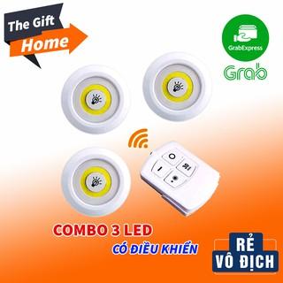 Bộ 3 Đèn LED chiếu sáng không dây – Dán tường, 2 chế độ sáng, có điều khiển từ xa, dùng pin