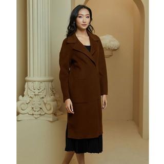 Áo măng tô dạ nâu lông cừu xẻ sườn Elise thumbnail