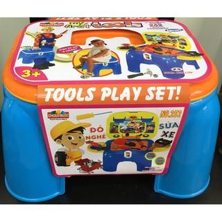 đồ chơi dụng cụ kỹ sư sửa xe với ghế ngồi được, xếp hình 45 miếngráp v695
