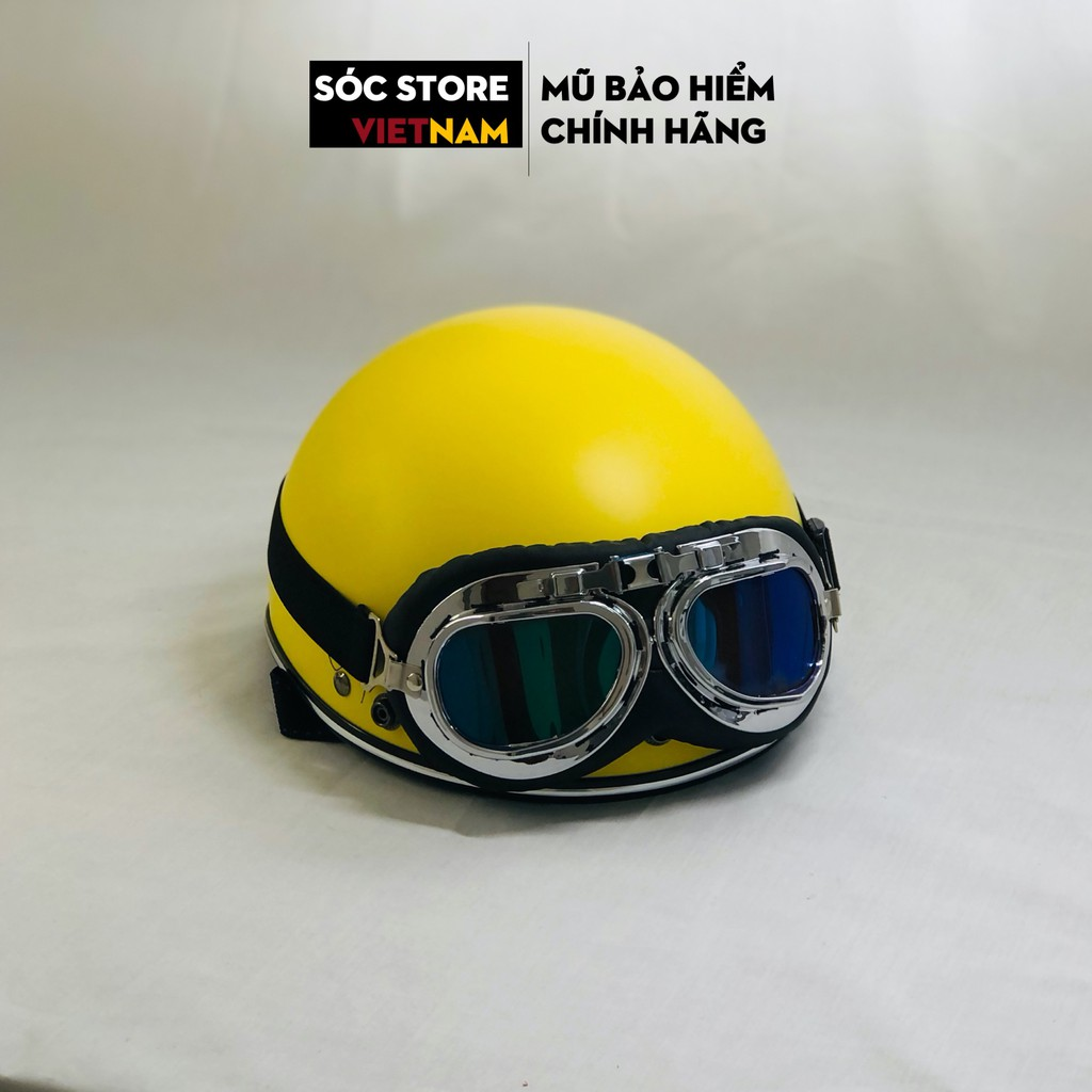 Mũ bảo hiểm nửa đầu chính hãng Sóc Store Vietnam màu vàng kèm kính UV, kính phi công, nón bảo hiểm 1 phần 2 freesize