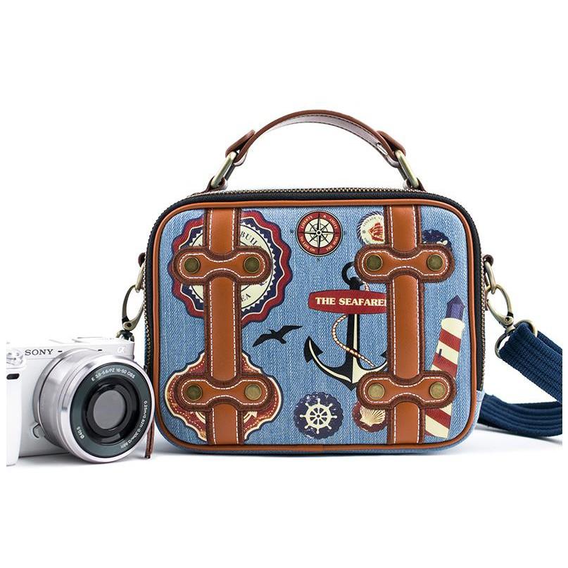 Cute literary camera bag for Fuji Canon Sony a6000a5100eosm50m100m6xa5xt100