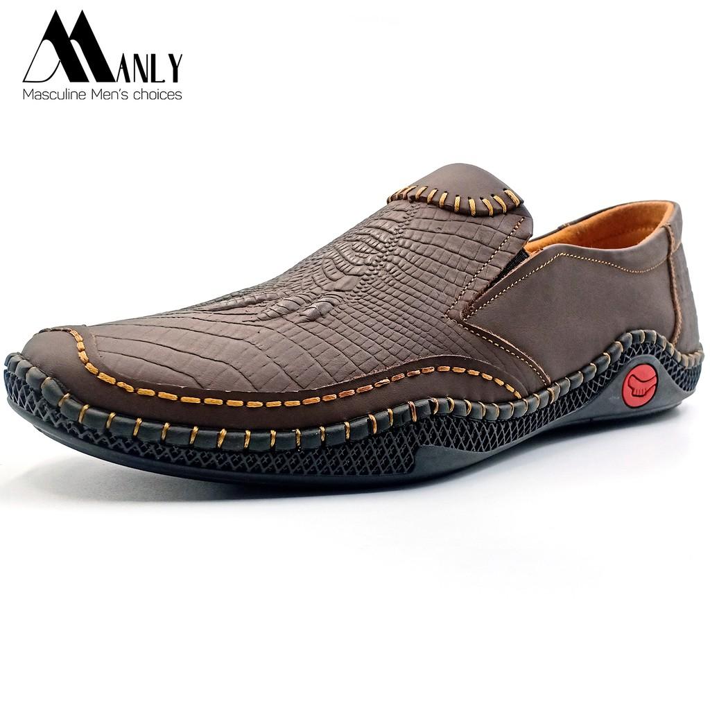 Giày lười nam dập vân cá sấu cao cấp MANLY da bò thật 100%, kiểu dáng độc lạ, hiện đại, bảo hành 12 tháng, Nâu-ML057