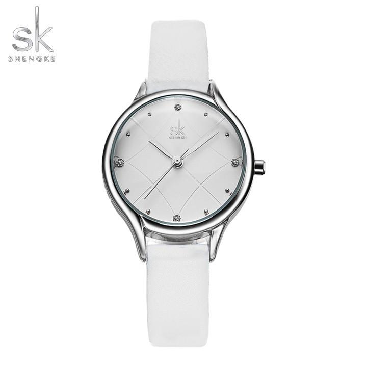 Đồng hồ nữ Shengke Korea K8013L-06 Trắng chính hãng