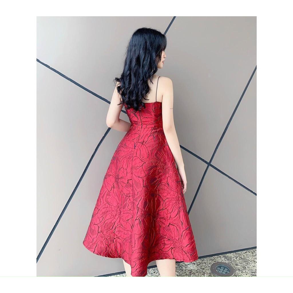 Mặc gì đẹp: Sang chảnh với Đầm dự tiệc gấm hai dây sang chảnh Vavi Dress
