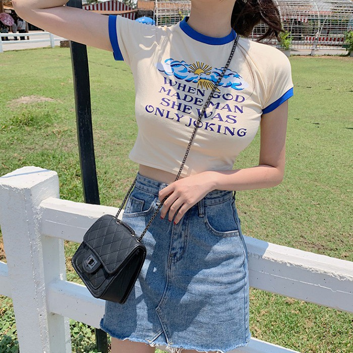 áo thun ngắn tay in chữ phong cách hàn quốc cho nữ