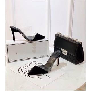 Giày sục cao gót phối mika hở eo gót nhọn 7p mã H69 thumbnail