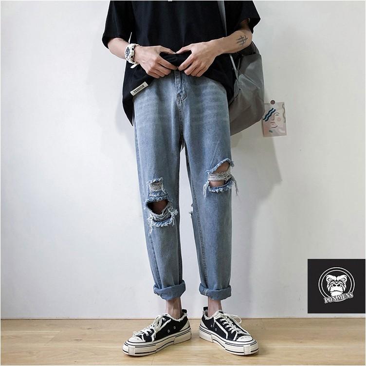 Quần Baggy jean nam nữ ống rộng rách gối