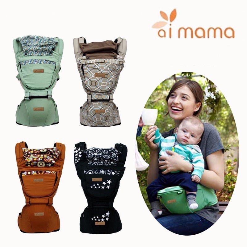 Địu ngồi trẻ em Aimama Hàn Quốc - Hàng chính hãng có đỡ cổ full hộp