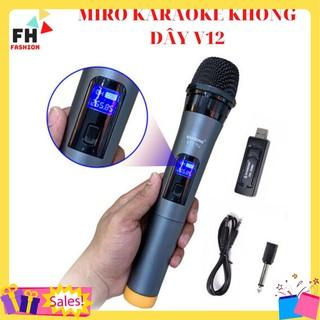 Micro karaoke không dây v12 , dùng cho loa kéo , amlpi