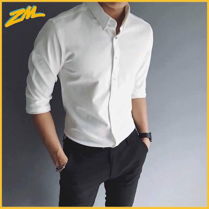 áo sơ mi nam trắng , áo sơ mi dài tay Vải Lụa Thái Trắng chống nhăn không xù